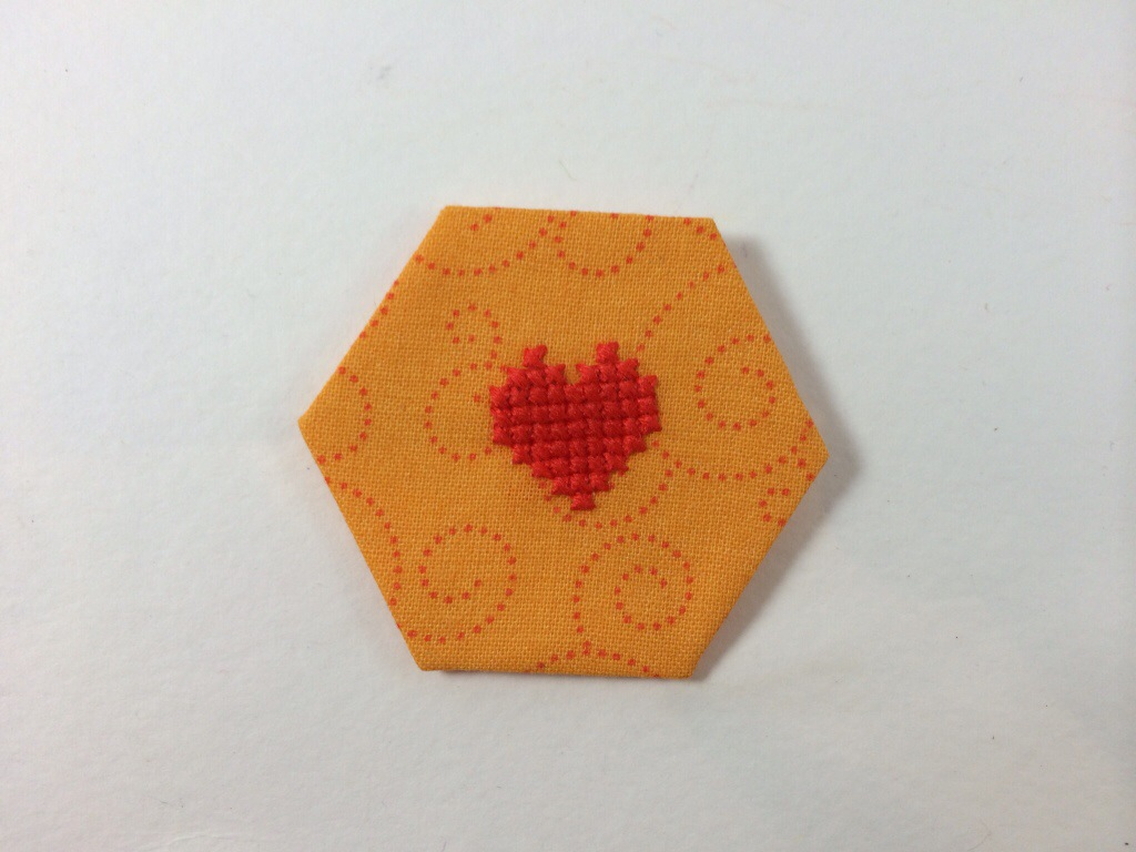 Cross Stitched Hexagon by Hugs are Fun